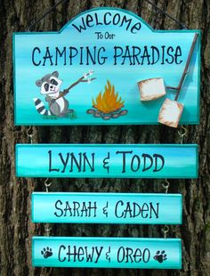 Welcome to our Camp Camping Paradise Campsite Raccoon Fire Camping Sign  with 3 Name Plates! Personalized to you Can Be Custom by CreativeDesigns77 on Etsy