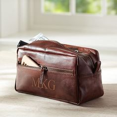 Guys Classic Leather Toiletry Bag $49