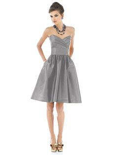 Strapless cocktail length dupioni dress with draped bodice and pleated midriff. Full shirred skirt has pockets at side seams. Also available full length as style D541. Available in sizes 00-30W.  http://www.dessy.com/dresses/bridesmaid/d540/