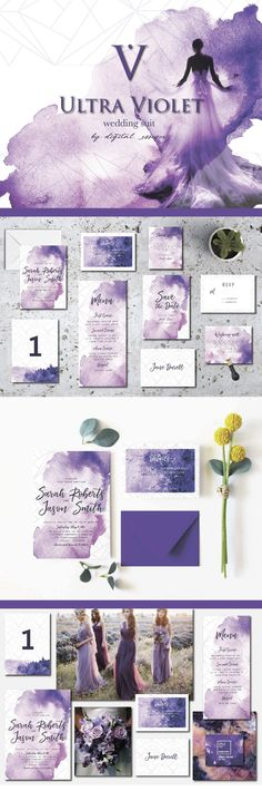 """Introducing wedding suite """"Ultra Violet""""! #weddinginvitations ing #invitation, #rsvp, #card, #template, Iceland, #watercolor, landscape, #wedding  #savethedate , table, #ceremony, #feminine, #save the date, #married , #psdtemplate tionerywedding, #psd, #elegantweddinginvites , #elegant, #trending  card, #bride, #classy, #trend, table number, wedding set, invitation, elegant, invite, #romance , easy, nature, northern lights,"""