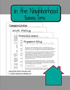 """Starting up a tutoring business?  Get off to a great start with my In the Neighborhood """"Themed"""" Business Forms. $ Comes with Payment Policy, Parent Child Info, Sick Policy, and a Communication Page."""