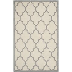 Sandra Ivory & Silver Geometric Wool Hand-Tufted Area Rug