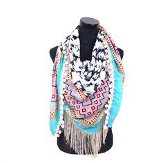 Hippe sjaal Ibiza Style met franjes en bolletjes