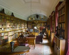 Sandringham's long, narrow library - which started life as an American-style bowling alley