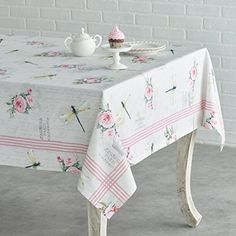 Maison d' Hermine Champ De Mars Cotton Tablecloth for Kitchen Dinning Tabletop Decoration Parties Weddings Spring Summer (Rectangle, 60 Inch by 108 Inch) Tablecloth Sizes, Floral Tablecloth, Vintage Tablecloths, Round Tablecloth, Shabby Chic Tablecloth, Kitchen Redo, Kitchen Dining, Dining Room, Kitchen Furniture