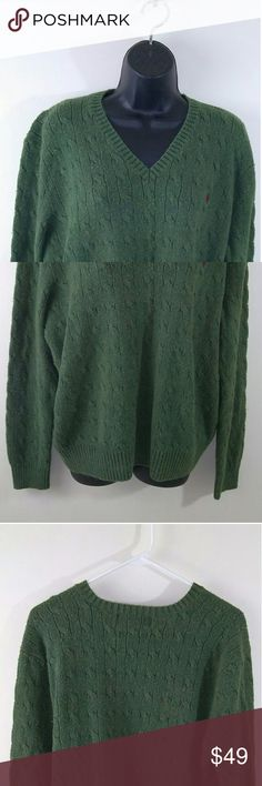 Polo by Ralph Lauren 100% silk cable knit sz xl Beautiful 100% silk cable knit sweater by polo Ralph Lauren green size XL in good preowned condition Polo by Ralph Lauren Sweaters V-Neck
