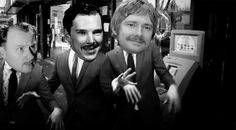 """Lolz. xD - Benedict Cumberbatch, Martin Freeman, and Mark Gatiss do """"the Creep.""""  EDIT: Aww, pins don't animate?  This is a .gif and is SO much more amusing when it animates. xP"""