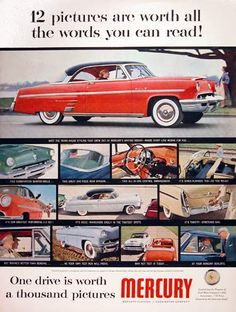 1953 Mercury Monteray original vintage advertisement. Features years ahead styling, combination bumper/grille, one piece rear window, all in one dash cluster, and our greatest performing V8 engine yet.