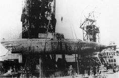 Type XVII U-1406 being raised in 1945