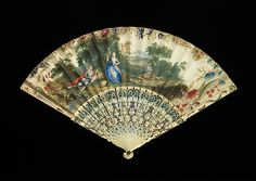 Fan Date: 1745–55 Culture: European Medium: ivory, mineral, paper, gouache, paint Dimensions: 10 1/8 in. (25.7 cm) Credit Line: Brooklyn Museum Costume Collection at The Metropolitan Museum of Art, Gift of the Brooklyn Museum, 2009; Gift of the executors of the estate of Clara M. Blum in memory of Mr. and Mrs. Albert Blum, 1966