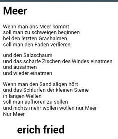 ...Meer ❤❤❤ Quotes And Notes, Poem Quotes, Words Quotes, Sayings, Ocean Poem, Say Say Say, Story Poems, German Quotes, Lyric Poem