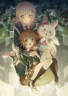 Super Dangan Ronpa 2 - Chiaki Nanami, Monomi, and Chihiro Fujisaki