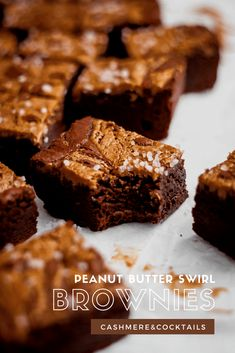 These peanut butter swirl brownies are DA BOMB! Salty, fudgy, and oh-so delicious, add this brownie recipe to your recipe roster ASAP. Chocolate Drip Cake Birthday, Chocolate Sweets, Baking Recipes, Dessert Recipes, Baking Ideas, Delicious Desserts, Yummy Food, Tasty, Kitchens