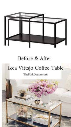 Ikea Vittsjo Coffee Table Hack Under 5 Bucks! See the best IKEA Vittsjo Coffee Table Hacks and transform the IKEA Vittsjo Coffee table for under 5 bucks. Diy Coffee Table, Decor, Ikea Hack Living Room, Furniture Hacks, Ikea Diy, Coffee Table Hacks, Ikea Coffee Table, Best Ikea, Coffee Table Pictures