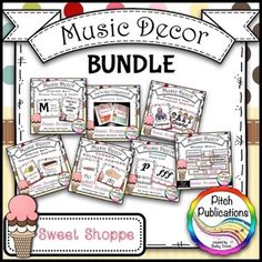 This is a great bundle for music decor!  These are adorable and it includes everything I need!  #elmused #pitchpublications #tptmusictribe #kodaly #orff