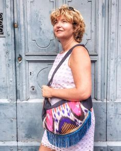 This is a shoulder bag I made for my mother, with denim and Indonesian Ikat fabric!! She loves it!