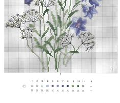 bottom of chart for bluebell type flowers Just Cross Stitch, Cross Stitch Cards, Cross Stitch Flowers, Cross Stitching, Cross Stitch Embroidery, Embroidery Patterns, Hand Embroidery, Cross Stitch Designs, Cross Stitch Patterns