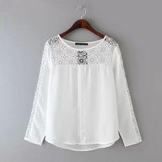 2015 Automne Chemises En Mousseline de Soie Dentelle Femmes Blouses À Manches Longues Vêtements Bureau Femme Tops Dames Blanc Vêtements Style Européen BLusas