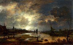 Neer Aert van der - A River near a Town, by Moonlight