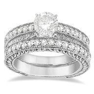 For Women Vintage Filligree Semi-Eternity Diamond Ring and Wedding Band 14k White Gold (0.25ct)