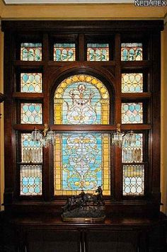original stained glass and woodwork window in a 1915 Modified Craftsman