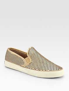 Tory Burch - Miles Perforated Metallic Leather Sneakers - Saks.com
