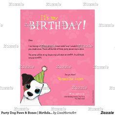 Party Dog Paws & Bones | Birthday Party Invitation Letterhead