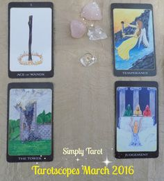 Tarotscopes for March 2016, from Simply Tarot, are a four card tarot reading based on your zodiac star sign. Scroll down the blog to read yours now!