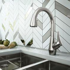 Kalia Neris Diver Pull Down Single Handle Kitchen Faucet Finish: Chrome Bar Faucets, Kitchen Sink Faucets, Kitchen Handles, Pot Filler Faucet, 3 D, Kitchen Design, 3d Printing, Chrome, Diving