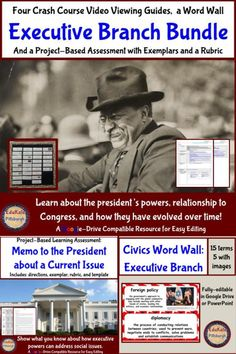 This fabulous bundle comes with a project wherein students write memos to the president about current issues; a word wall with 15 terms, and four viewing guides for the popular Crash Course Government and Politics series. School Resources, Teaching Resources, Middle School, High School, American History Lessons, Executive Branch, School Grades, Project Based Learning, Social Studies