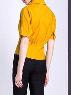 Short Sleeve Solid Cotton-blend Blouse