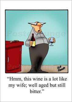 """Poster """"bitter"""" von Bill Abbott - #joke #sarcasm #caricature #wine"""