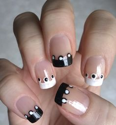 DIY - French manicure design with black & white dotted tips https://www.youtube.com/watch?v=gC5XHfllMhw