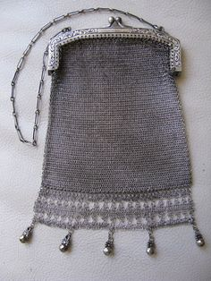 Antique Art Deco Nouveau G Silver Fancy Floral Ball Chain Mail Mesh Purse #53 #EveningBag