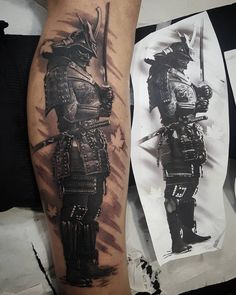 Samurai Tattoo Tattoo and Style Guide Warrior Tattoo Sleeve, Samurai Tattoo Sleeve, Samurai Warrior Tattoo, Forearm Sleeve Tattoos, Warrior Tattoos, Tattoo Sleeve Designs, Leg Tattoos, Demon Tattoo, Tattoo Cat