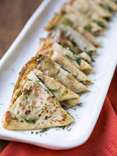 Grilled Cheese Crepes with Chard and Dill #recipes #Oscars #appetizers