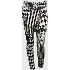 Balmain Black and white Miami printed harem pants found on Polyvore