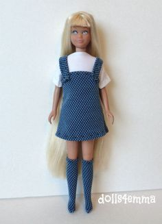 Handmade Clothes for Vintage Skipper DRESS SOCK BOOTS & TOP Fashion NO DOLL d4e