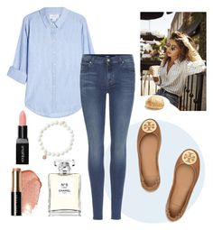 """""""Untitled #145"""" by eliza-blankenship on Polyvore featuring Sydney Evan, Velvet, 7 For All Mankind, Chanel, Smashbox, Bobbi Brown Cosmetics and Tory Burch"""