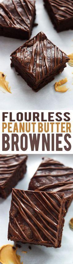 Super fudgey Flourless Peanut Butter Brownies make for a delicious gluten free dessert! This chocolate dessert is the BEST. Gluten Free Deserts, Gluten Free Sweets, Foods With Gluten, Gluten Free Baking, Patisserie Sans Gluten, Dessert Sans Gluten, Just Desserts, Dessert Recipes, Recipes Dinner