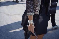 Silver Jewelry // Embroidered Jacket // Black Dress // Black Cardigan
