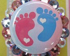Labor and Delivery Nurse Peds OB Nursery NICU Nursing Expectant mother Baby Footprints Badge Holder ID reel with Swarovski Crystals