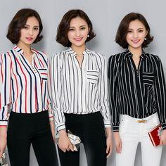 Plus size women clothing tops black white red striped chiffon shirt women's slim long sleeve shirts female OL work blouses