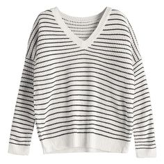 V Neck Drop Shoulder Striped Sweater White (€23) ❤ liked on Polyvore featuring tops, sweaters, white sweater, v-neck sweater, multi stripe sweater, striped sweater and white striped sweater