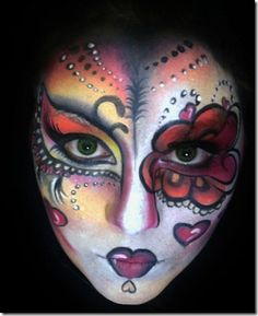 When you think about face painting designs, you probably think about simple kids face painting designs. Many people do not realize that face painting designs go Adult Face Painting, Skull Painting, Face Painting Designs, Body Painting, Skull Face Tattoo, Sugar Skull Tattoos, Sugar Skulls, Candy Skull Makeup, Sugar Skull Face Paint
