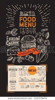Food menu for restaurant. Vector flyer with kitchen utensils on blackboard background. Design template with vintage hand-drawn illustrations.