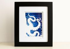 Nautical Octopus Wall Art - Original Collage - Blue Cephalopod by HullStreetStudio on Etsy