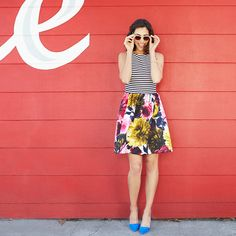 Proof that stripes & florals are natural BFFs. Make your sundress pop even more with a pair of bold hue heels.