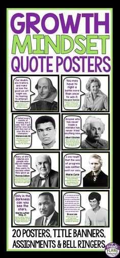 """Brighten up your classroom and inspire your students with these 20 growth mindset posters that feature quotes from famous and influential people in history. Change the poster up once a week for a """"Growth Mindset Quote Of The Week"""" (poster for weekly display included!) or use the posters to create a large bulletin display!  Bell ringer slide format and student activities are also included!"""