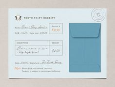 Such a cute idea - Nocciola Design Tooth Fairy Receipts. These Tooth Fairy Receipts by Nocciola Design are simply adorable. If you're the DIY type, there's a printable version too. Projects For Kids, Crafts For Kids, Tooth Fairy Receipt, Do It Yourself Inspiration, For Elise, Little People, Parenting Hacks, Baby Love, Kids Playing